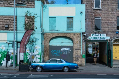 dublin-blue-car-in-front-of-house
